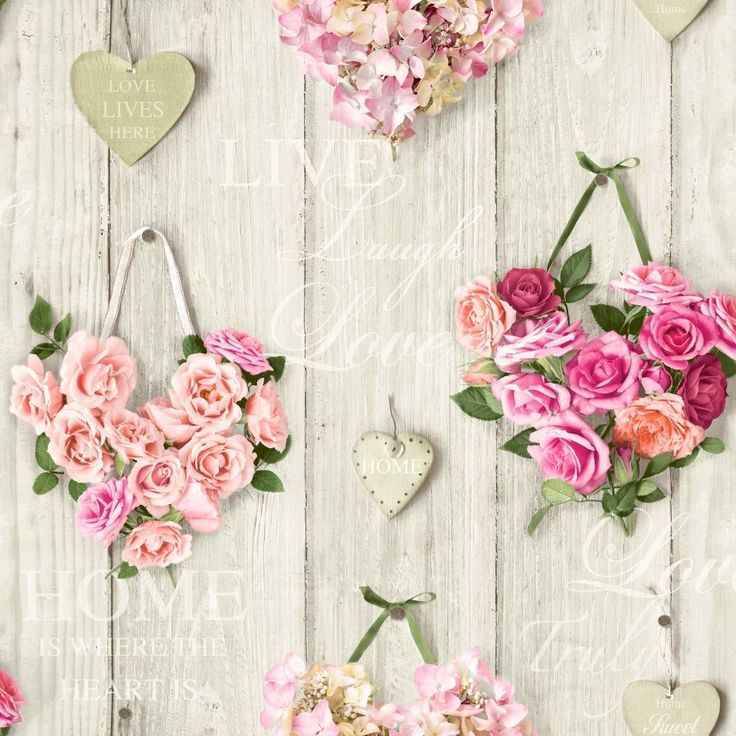 Vintage Shabby Chic Heart Floral Wallpaper Pink Free Delivery | eBay