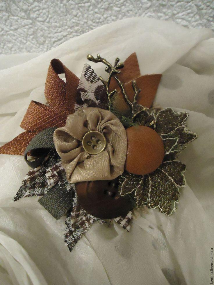 """Купить Брошь """"Теплые оттенки"""" - коричневый, брошь, текстильная брошь, купить брошь, брошь с цветком"""