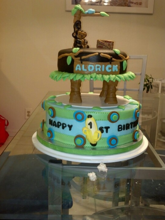 Monkey themed 2-tiered cake