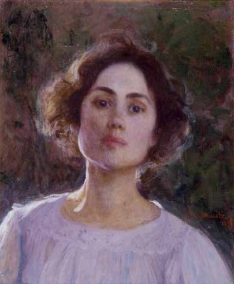 """Elin Kleopatra Danielson-Gambogi (Finnish painter, 1861-1919) Self Portrait. Danielson-Gambogi belonged to the 1st generation of Finnish women artists who received professional education in art. Having studied together in Helsinki at the Art School of the Finnish Art Society, these artists are often collectively referred to in Finnish art history as the """"painter sisters generation."""" - Finland"""