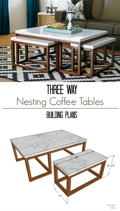 Learn how to build a modern, three way nesting coffee table with FREE building plans!