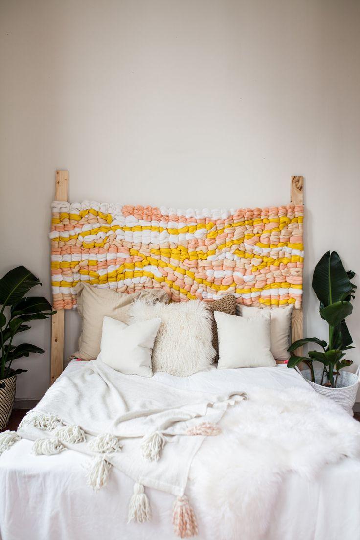 diy idee frs schlafzimmer gewebtes kopfteil frs bett - Hngendes Kissenkopfteil