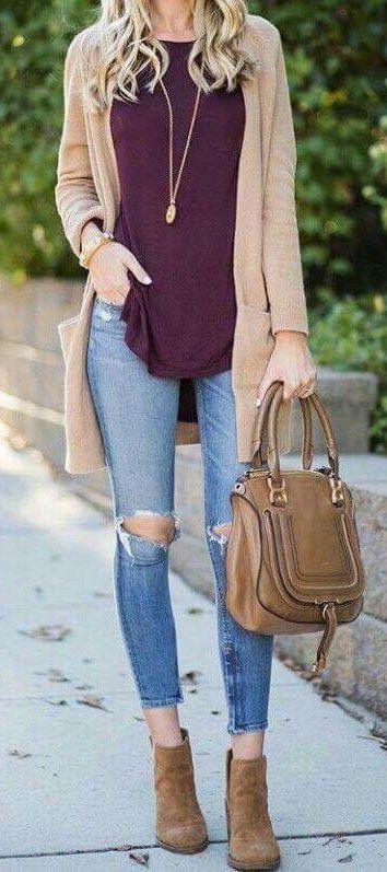 summer outfits  Camel Cardigan + Burgundy Tank + Destroyed Skinny Jeans