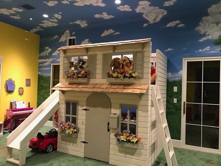 The Ultimate Dollhouse Cottage Playhouse with Slide  Can be ordered with a Ladder or Step Block Staircase w/ Built-in Storage by DangerfieldWoodcraft on Etsy https://www.etsy.com/listing/491338740/the-ultimate-dollhouse-cottage-playhouse