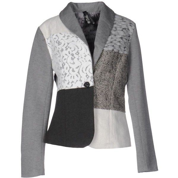 Desigual Blazer ($155) ❤ liked on Polyvore featuring outerwear, jackets, blazers, grey, blazers jersey, desigual jacket, gray blazer, desigual and blazer jacket