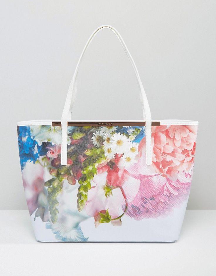 Image 1 ofTed Baker Floral Crosshatch Shopper