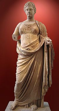 "Themis (Greek: Θέμις) is an ancient Greek Titaness. She is described as ""of good counsel"", and is the embodiment of divine order, law, and custom. Themis means ""divine law"" rather than human ordinance, literally ""that which is put in place"", from the verb τίθημι, títhēmi, ""to put""."