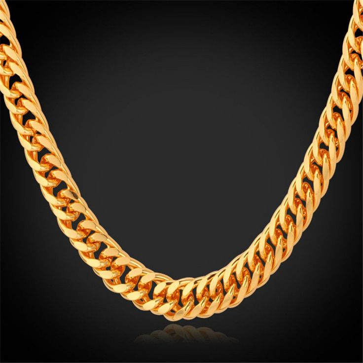 """Gold Chain For Men Jewelry With """"18K"""" Stamp 18K Real Gold Plated 22"""" Length Curb Men Necklace"""