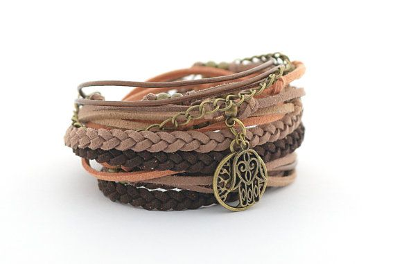 Tree of Life Wrap Bracelet Hamsa Hand Bracelet Yoga by cardioceras