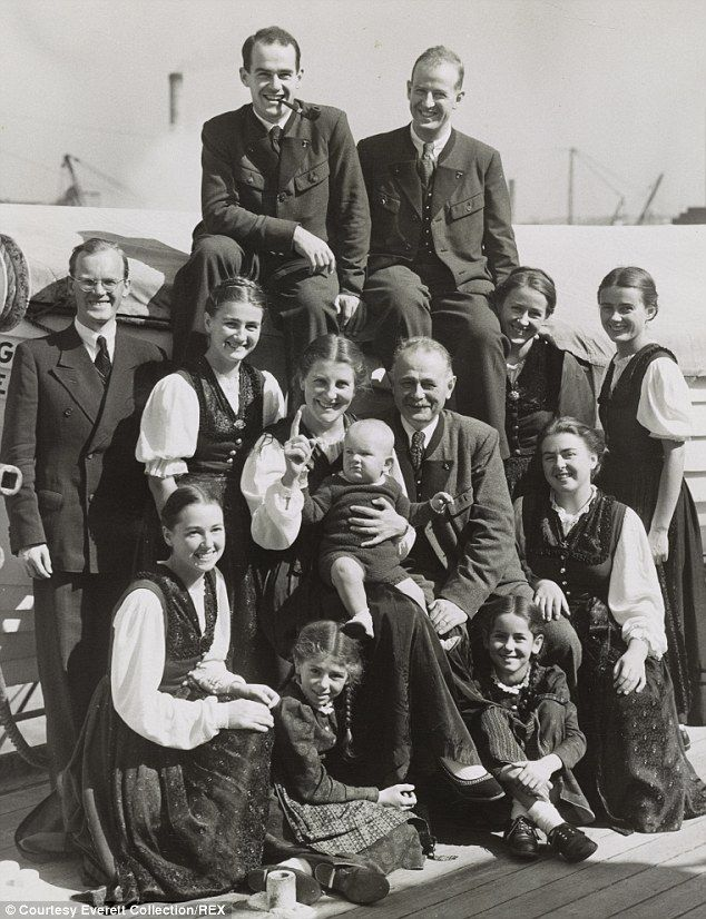 The Von Trapp family are pictured in 1939. Top row: Werner and Rupert; Second row: Dr. Franz Wasner, Johanna, Martina, Maria and Georg, Johannes, Hedwig, Maria; Bottom: Agathe, Rosmarie and Eleonore