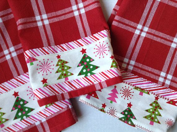 Three Holiday Christmas Kitchen Towels
