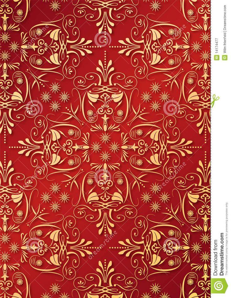 Rood Behang Met Gouden Hulp Royalty-vrije Stock Fotografie - Afbeelding: 14174477