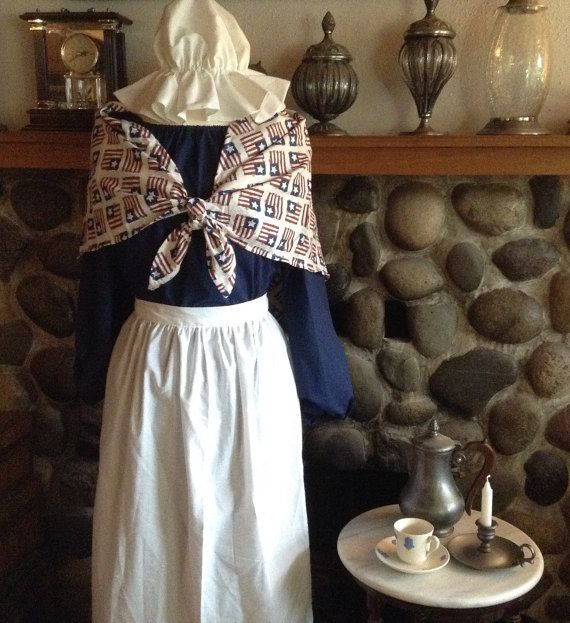 New Blue Ladies Pioneer Prairie Colonial Dress Costume Civil War With Mop Hat Includes: Dress, Apron, Shawl and Mop Hat Dress is loose fitting and apron forms waistline Your Choice of One Size, Please Allow 7-14 Days before your size is shipped.  Please email with any questions or concerns.  Available Sizes  Size Chart: Small- Bust 31 1/2-32 1/2 Waist 25 Hip 33 1/2-34 1/2 Medium-Bust 34-36 Waist 28 Hip 36-38 Large- Bust 38-40 Waist 32 Hip 40-42 XLarge- Bust 42-44 Waist 37 ...