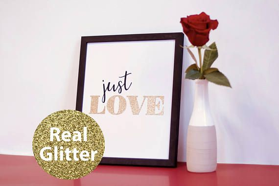 Just Love. Modern minimalistic wall picture, made of special, thick, extra black creative paper and gold glitter paper, whith 3D effect (it's not printed). Wall paper art | Wall decor | Wall art | Wall print art | Paper home decor | paper cut | picture | minimalistic | love | just | just love | valentine | valentine day | black and white | glitter | gold glitter