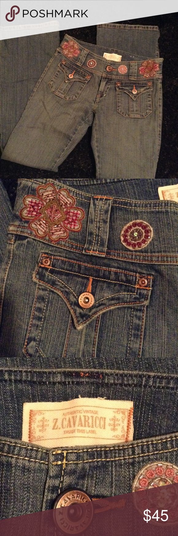 Vintage Z Cavaricci jeans Step back in time to z Cavaricci embroidered and beaded trim on front and back, flare leg with button rear pockets and high cut waisr. inseam 33 size 9 Z. Cavaricci Jeans Flare & Wide Leg