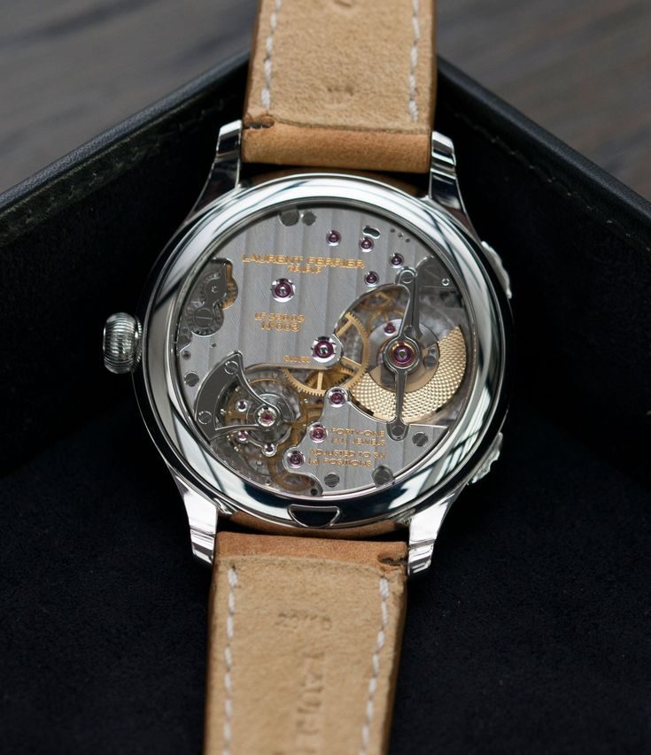 LF 230.02 automatic hand-finished movement in Laurent Ferrier Galet Traveller Boreal steel dual-timezone black dial dress watch at A Collected Man London