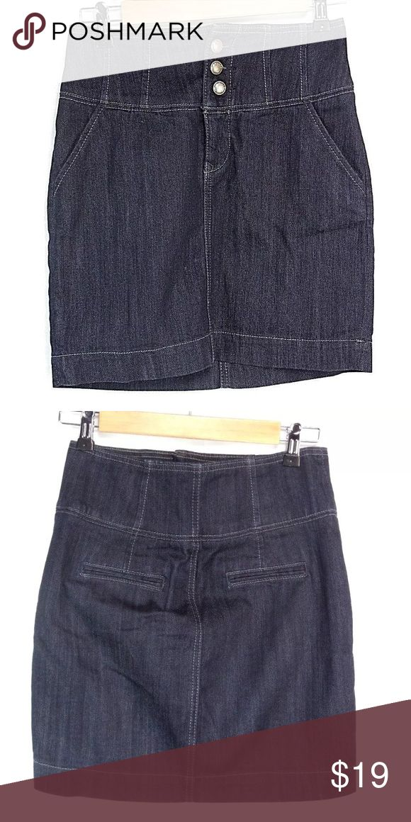 "Express High Waist Denim Jean Stretch Skirt Sz 2 Express High Waist Denim Jean Stretch Skirt Size 2  color: dark blue   size 2 x 17"" long   actual waist measures 25""  87% cotton  13% Elasterell  IN VERY GOOD CONDITION Express Skirts High Low"