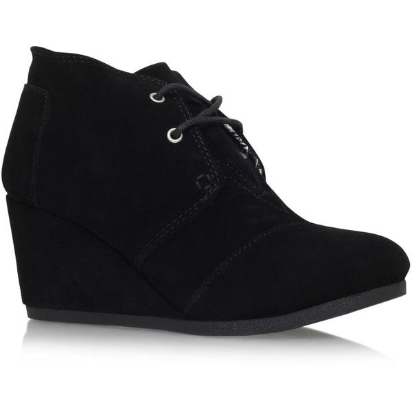 Desert Wedge Toms Black ($120) ❤ liked on Polyvore featuring shoes, black, black desert boots, wedges shoes, wedge heel shoes, metallic shoes and synthetic leather shoes