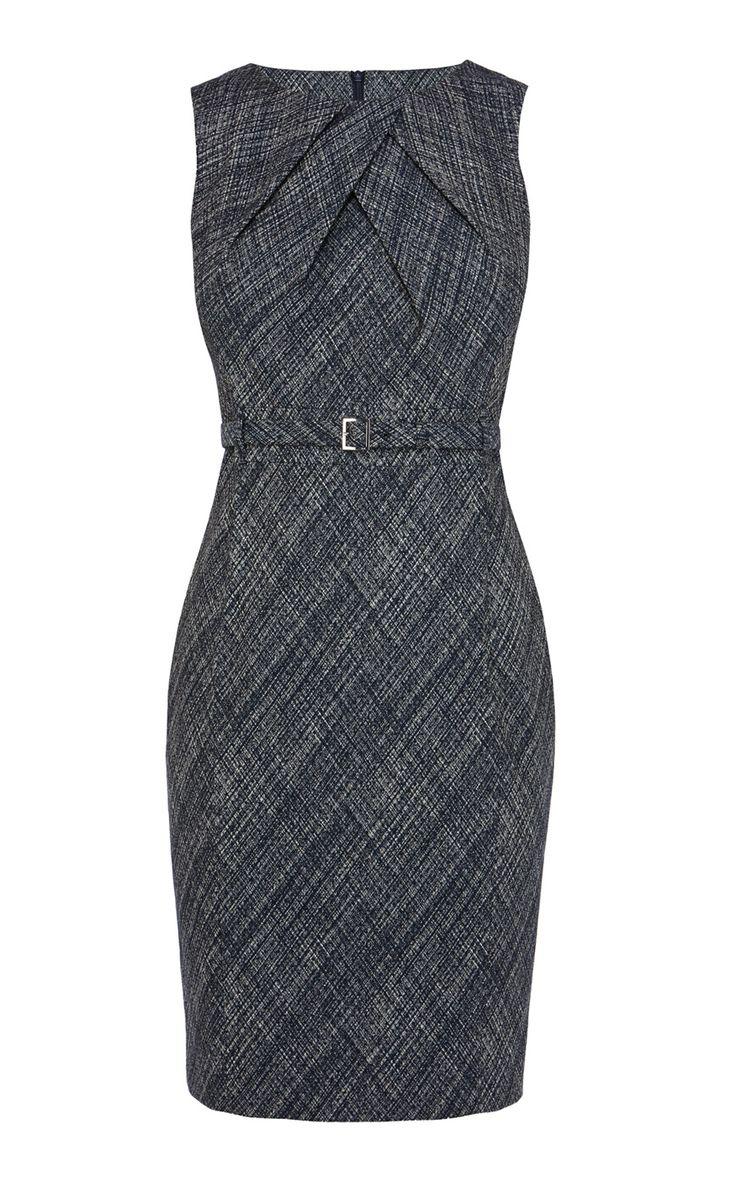 Cross hatch jacquard pencil dress | Luxury Women's shop_all | Karen Millen