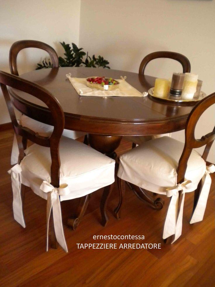 Coprisedia con fiocco elegante soluzione per usare sedia anche pranzo e poter lavare poi il coprisedia velocemente