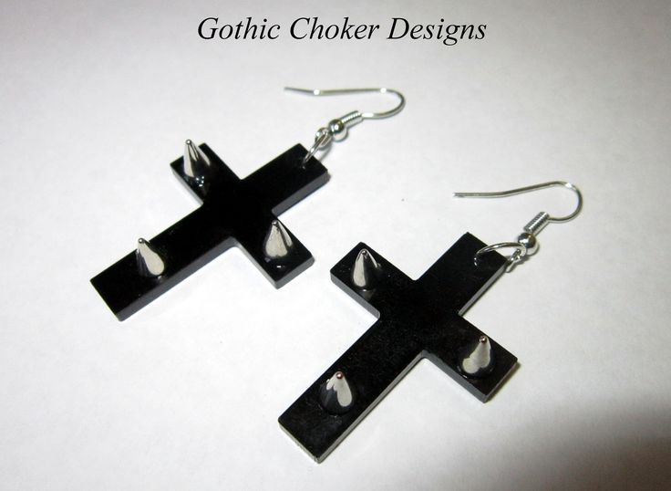 Black perspex cross earrings with spikes. R80 approx $8. These are really awesome! Two pairs available and necklaces coming soon  Purchase here: https://hellopretty.co.za/gothic-choker-designs/black-cross-earrings-with-spikes