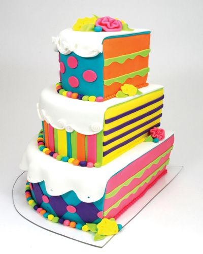 fun birthday cake: Cakes Ideas, Half Birthday, Birthday Parties, Colors Cakes, Wedding Colors, Wedding Cakes, Rainbows Cakes, Fondant Cakes, Birthday Cakes