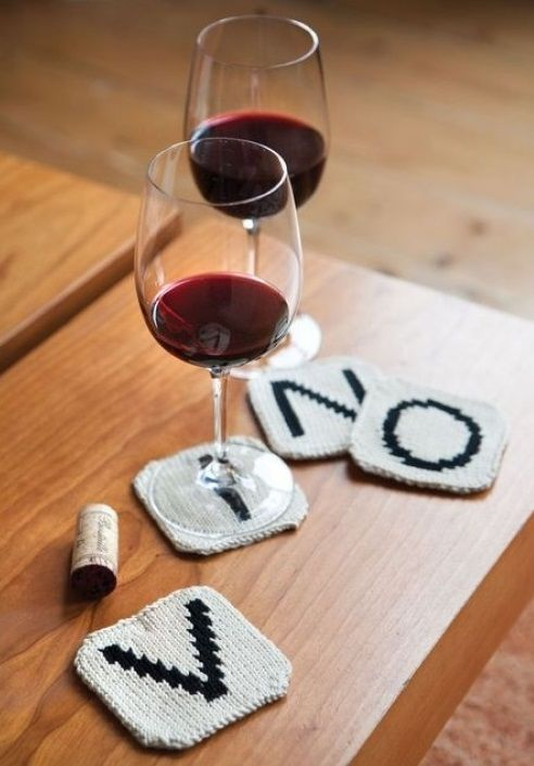 DIY Knitted coasters