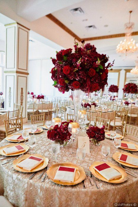 Burgundy Wedding Centerpiece Idea Tall Burgundy Red