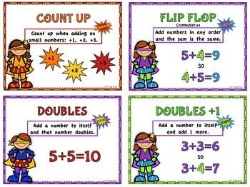 ADDITION MENTAL MATH STRATEGY POSTERS - These Mental Math Strategy Posters have a motivating Super Hero theme! Each of the 11 posters defines and gives an example of the strategy. They are great on your math wall for the students to use a reference when needed. I have also included a smaller version to use in centers and small group or individual practice. $