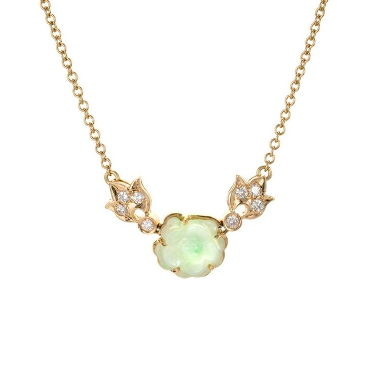 GIA Certified Natural Carved Jadeite Jade Diamond Flower Pendant Necklace For Sale