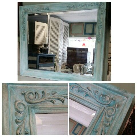 Large mirror painted in American Paint Company Clay/Chalk  'Uncle Sam' then layered in tinted wax using 'Surfboard' and 'Peacock', finished with Dark Wax. No Voc paints, no fumes, not even in the waxes!