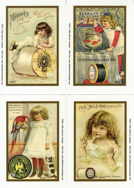 Vintage Needlework Postcards & Tradecards Set 3 - On Fabric!
