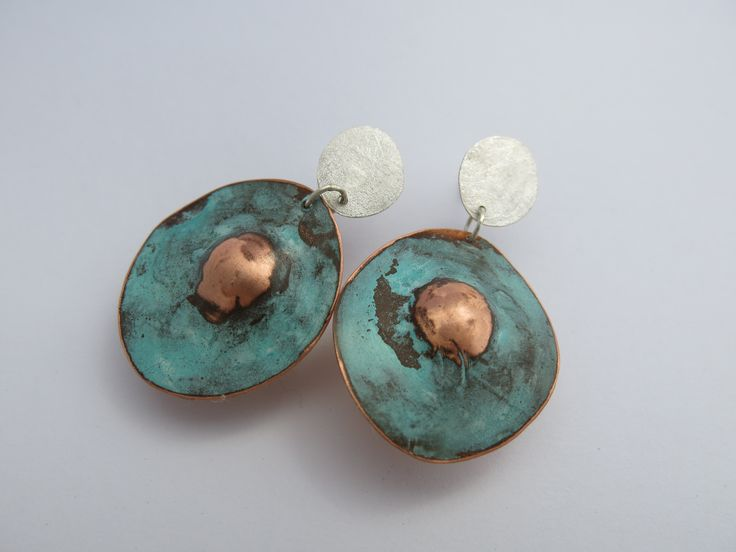 Silver Copper Earrings with green patina. Andrea Osses 2016 Australia