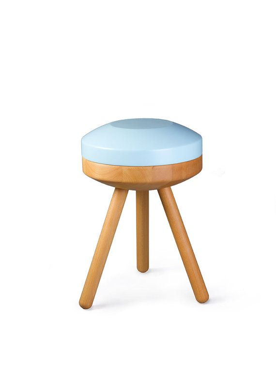 Candy Company Stool Lolly, Wood, Round, Light Blue, Nursery   Wooden Stool  Lolly, Blue, Children Room, Scandinavian Design Wood Chair
