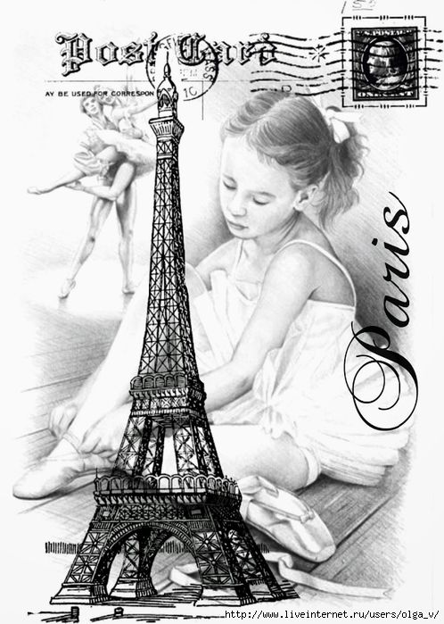 Paris Postcard with the Eiffel Tower and an image of a little girl