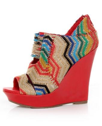 Mona Mia Lori Red Multi Rainbow Peekaboo Peep Toe Wedges  $46.00