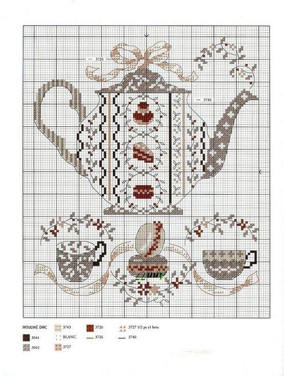 pinterest counted cross stitch teapots | Found on repincatalogue.com