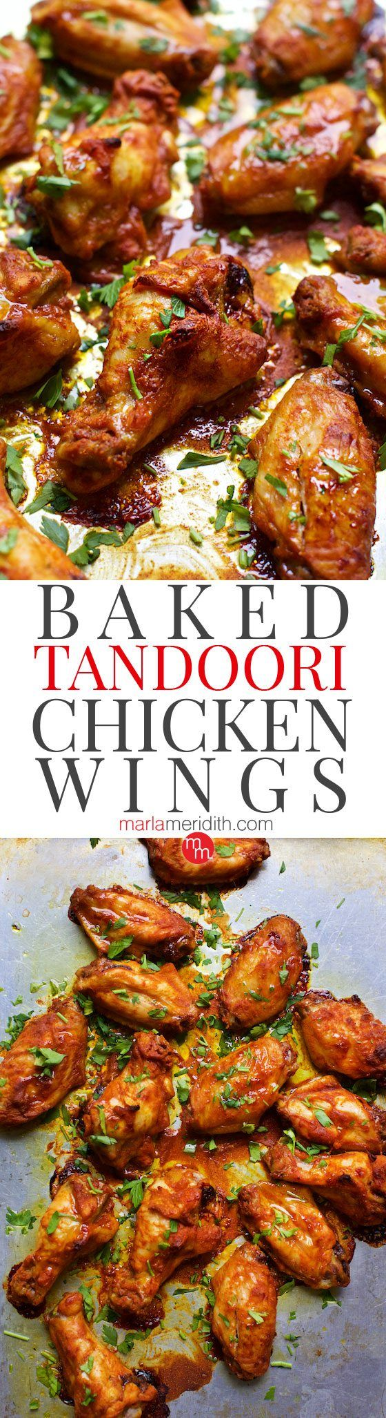 Baked Tandoori Chicken Wings are a super flavorful appetizer! Get the #recipe at MarlaMeridith.com ( @Marla Meridith )