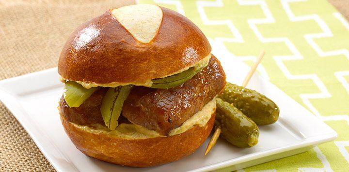 Pretzel Bratwurst Sandwiches [NB Sister Shubert's pretzel rolls][an easy way to make into a slider][use kraut instead of peppers]