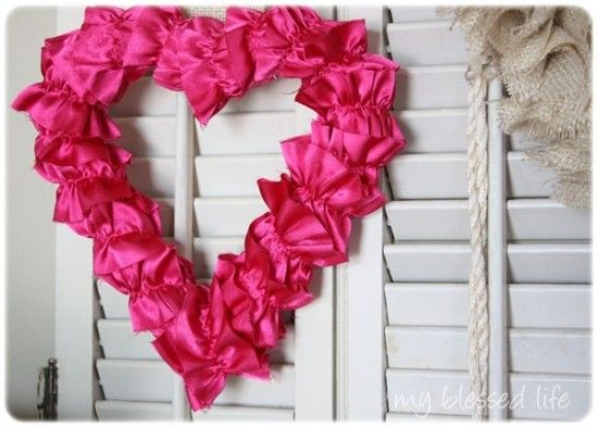 satin ruffled valentine heart