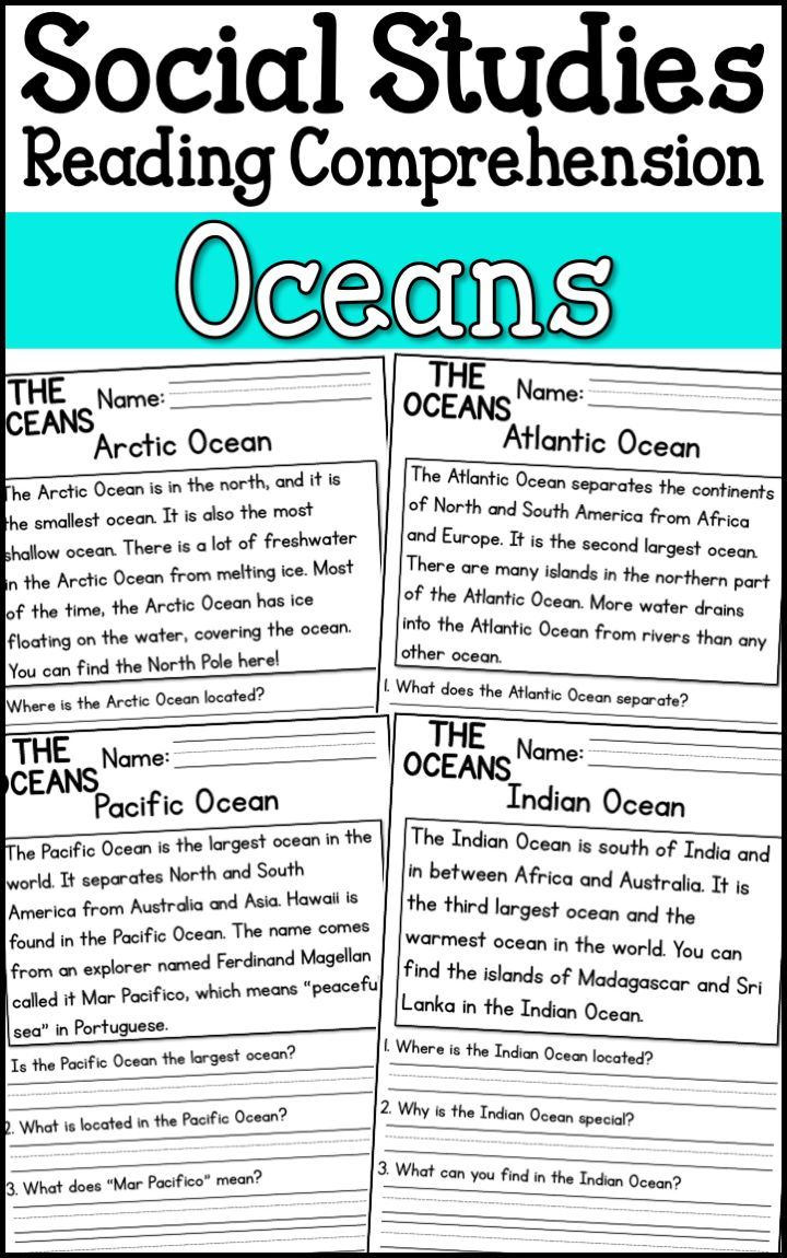 Oceans Reading Comprehension Passages (K-2) - A Page Out of History    Social studies worksheets [ 1150 x 720 Pixel ]
