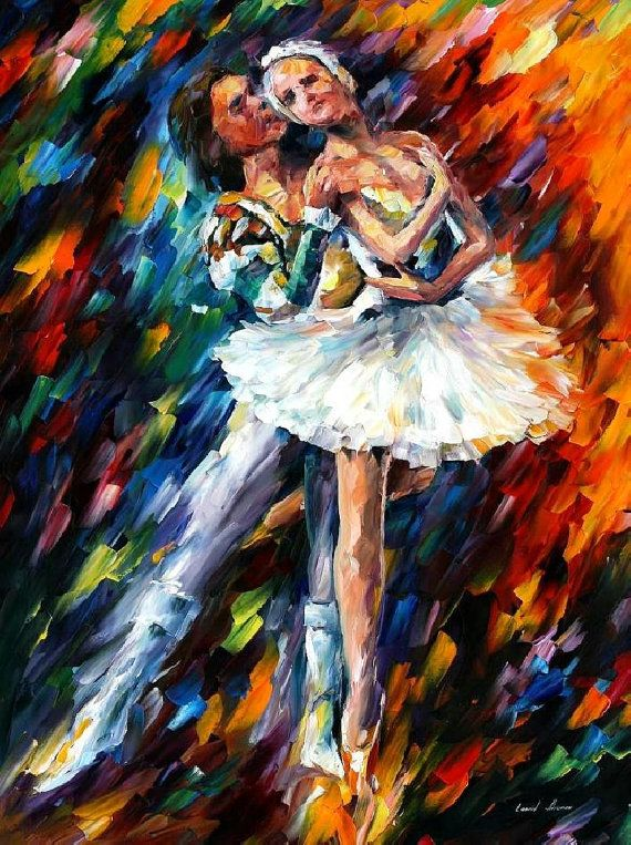"""Classical Dance — PALETTE KNIFE Figurative Oil Painting On Canvas By Leonid Afremov - Size: 24"""" x 30"""""""
