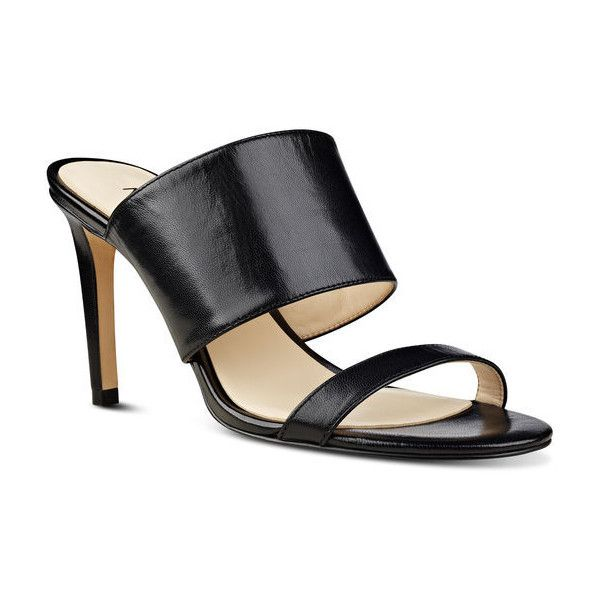 Nine West Azinta Open Toe Sandals ($60) ❤ liked on Polyvore featuring shoes, sandals, black leather, high heels sandals, leather sandals, black mules, high heel mule sandals and leather mules