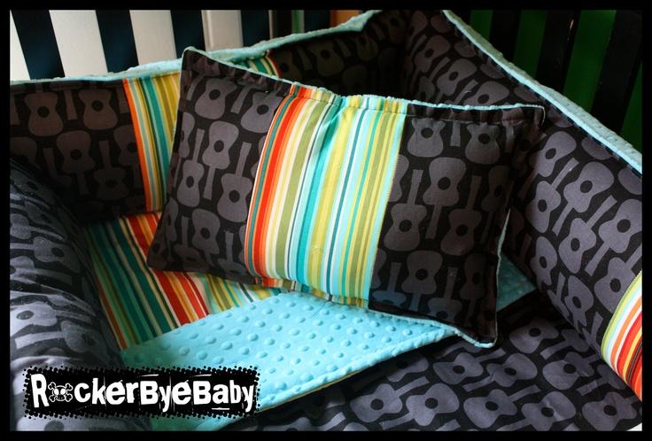 Custom Punk Baby 4 Piece Mixed Prints Crib Bedding Set