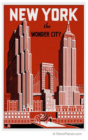New York City Retro Travel Poster