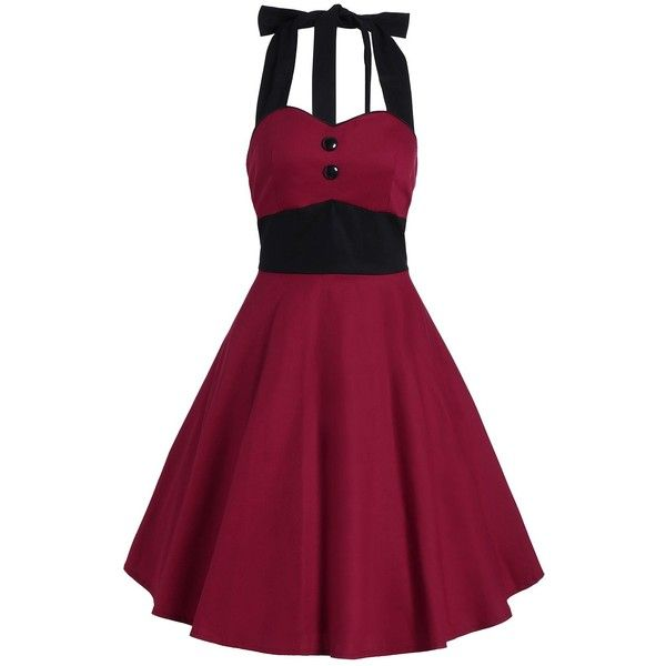 Vintage Contrast Halter Flare Dress (395 ARS) ❤ liked on Polyvore featuring dresses, halter-neck dresses, halter dress, halter strap dress, halter neckline dress and halter-neck tops