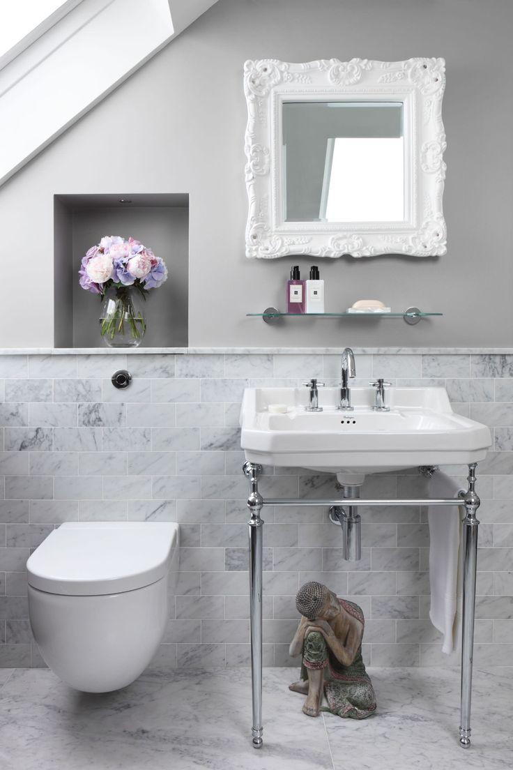 half tiled wall  houzz in 2020  unique bathroom design