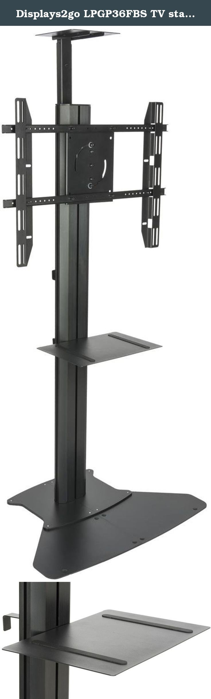 """Displays2go LPGP36FBS TV stand with Camera Tray and Shelf, Holds 30-84"""", Fixed Display, VESA Mount. This TV stand fits screens 30"""" to 84"""" weighing up to 220 lbs. Hardware is included to bolt the stand to the ground. Cable management is efficient with a cord winder and integrated outlet strip located on the back of the stand. The stand has a shelf for audio video equipment capable of holding 44 lbs. The bracket permits landscape or portrait orientation of the screen. The stand is VESA..."""
