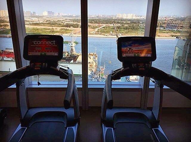 Got a plan for #saturday #morning? How about doing some #workout while enjoying great #riverview and entertaining from #personalised #tv and #ipods?  #photocredit @travelcurry  #gym #fitness #exercise #morning #livinghealthy #healthylifestyle #keepfit #saigonriverview #panoramicview #entertainment #instalike #likeforlike #tagforlikes #follow #lemeridien #saigon #lemeridiensaigon