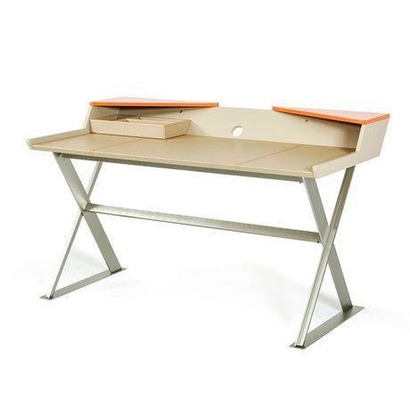 Bradley Beige Leather & Orange Office Desk